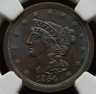1854 U.s. Half Cent C-1 Ngc Ms 65 Bn Monster Blue Tone Lots Of Luster