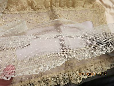 "VINTAGE COTTON TULLE POINT DE 'espirt LACE EDGED LACE ANTIQUE DOLL TRIM  84"" LG"