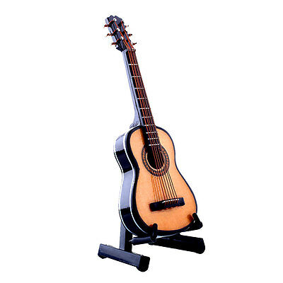 1:12 Mini Guitar Wooden Miniature Musical Instrument Dollhouse Decor With Case