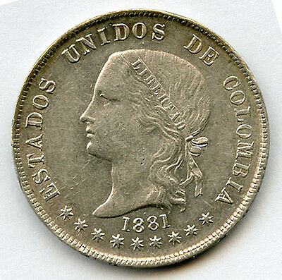 Colombia 1881 Issue 50 Centavos Nice Mint Luster Choice Au.