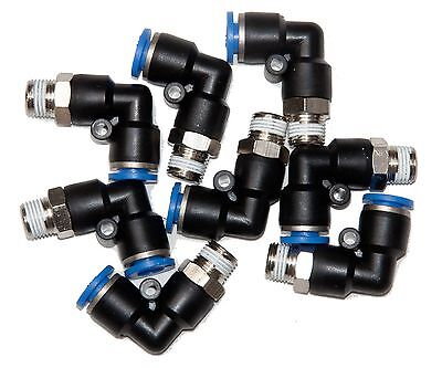 """10 Pieces  pneumatic 1/4"""" Tube x 1/8"""" NPT Swivel """"L"""" push to connect  fitting"""