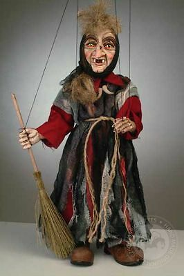 Small witch Marionette - handmade Pupet with broom and scarf from resin