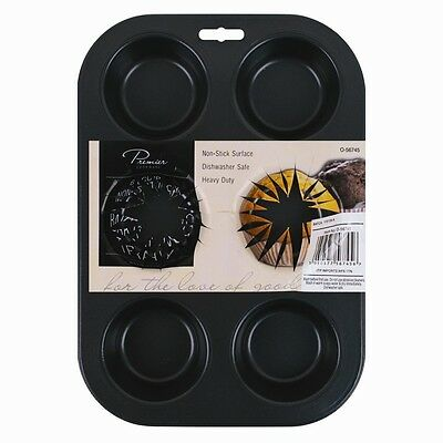 6 Cup Large Steel Bun/Muffin Tray Non Stick Bun Tin Tray Baking Pudding Mould