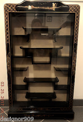 Last Chance! Mid-Century Chinese Wall-Mounted, Glass Front, Black Lacquer Case