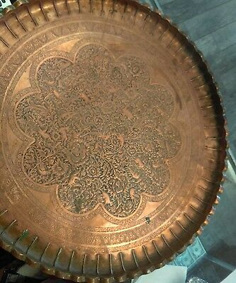 """Huge 26"""" Antique Persian?? Etched Copper Tray Round wall mount Unidentified"""