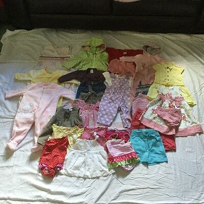 Great bundle of baby girl clothes age 6-9 months includes Gro bag