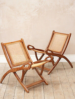 Lovely Vintage Retro Mid Century Rattan Fold Up Easy Chairs x2