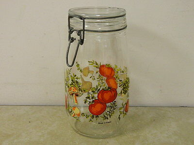 Vtg Glass Crock Canister Made In France Mushrooms Peppers Spice Of Life ?