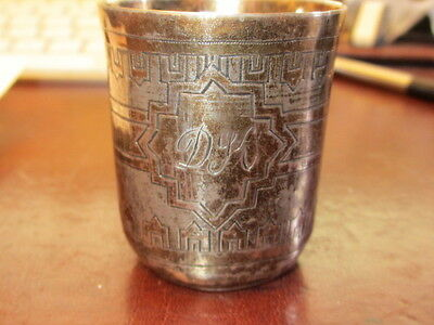 Antique Engraved Russian 84 Zol Silver Kiddush Vodka Cup Moscow 1880
