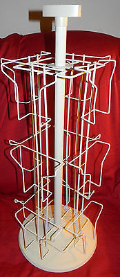 """White Metal 12 Slot Greeting Card Spinning Table Top Display Rack 25"""" Tall"""