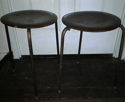 pair of mid century danish packing stools