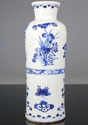Rare Antique Chinese Blue White Porcelain Flower Vase - Ming Transitional 17th