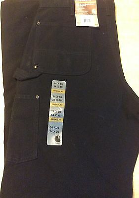 Carhartt Washed Duck Double Front Work Dungaree Pants 34 X 36 Black New