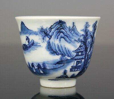 Superb RARE Chinese Blue White Porcelain Bowl Wine Cup - Kangxi Period 18th C.