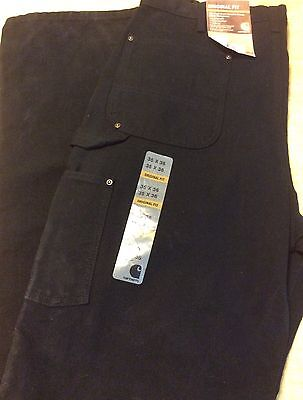 Carhartt Washed Duck Double Front Work Dungaree Pants 35 X 36 Black New