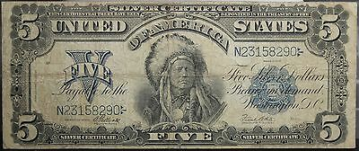 1899 $5 Chief Indian Large Size Note Silver Certificate F.280 Elliott-White