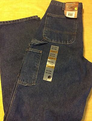 Carhartt Double Front Washed Logger Dungaree Pants 32 X 34 Denim New