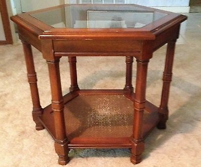 Nice Hexagon Shaped Wood And Glass End Or Accent Table