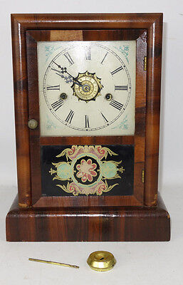 Antique New Haven 1 Day Ex. Cottage Striking Alarm Clock Hand Painted Door As Is