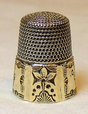Antique Simons Bros. Gold Band Sterling Silver Thimble Six Ornate Panel Design