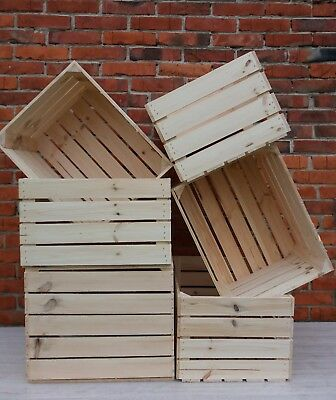 6 Strong&Solid Vintage Wooden Fruit Apple Crates Boxes Home Decor Retro-New
