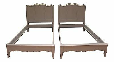 Pair of French Country Painted Gray Twin Size Bed Frames