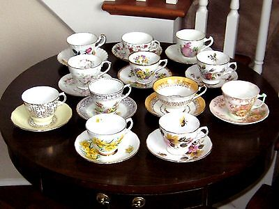 Lot of 12 Bone China Teacups and Saucers from England
