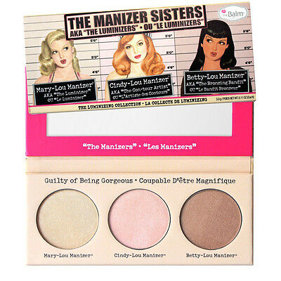 The Balm Manizer Sisters Trio Mary Lou Cindy Betty Palette Pressed Powder Makeup