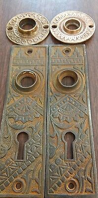 2 Antique Victorian Eastlake Cast IRON door knob back plates + 2 Brass rosettes!