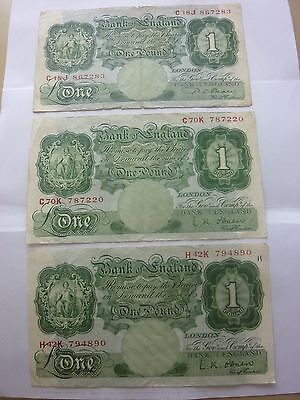 3 Old £1 NoteS - L.K. O'Brien P.S.BEALE