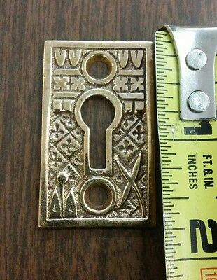 1 Antique Door Key Hole Covers Escutcheon Eastlake Victorian Brass Hardware