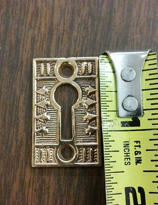 1 Antique Door Key Hole Cover Escutcheon Eastlake Victorian Brass Hardware