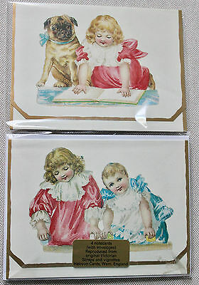 Halcyon Cards 4 Notecards Reproduced from Original Victorian Scraps & Vignettes