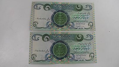 IRAQ  1 One DINAR  LOT OF 2 CONSECUTIVE  Notes 1984