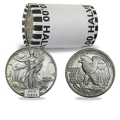 90% Silver Walking Liberty Halves $10 20-Coin Roll Average Circulated, 7.150 oz
