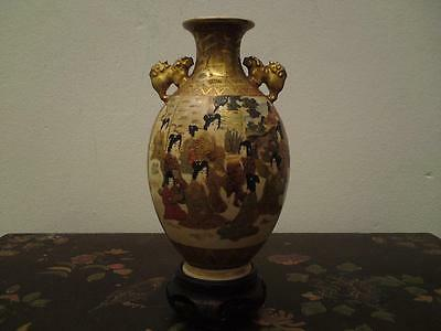 Antique Japanese signed gold Meiji Satsuma pottery vase Daruma Geisha Lion Dog