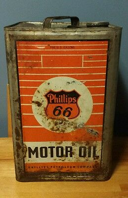 Rare VTG 5 Gallon Phillips 66 Orange Motor Oil Tin Can with Lid - Gas & Oil