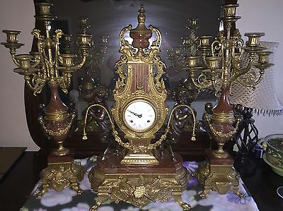 Vintage Brass & Marble Imperial Mantle Clock & Candelabras - Made in Italy