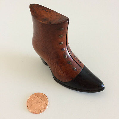 Antique Carved Wooden Boot