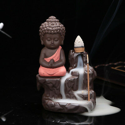 Ceramic Buddha Backflow Incense Burner for Sticks and Burner Cones