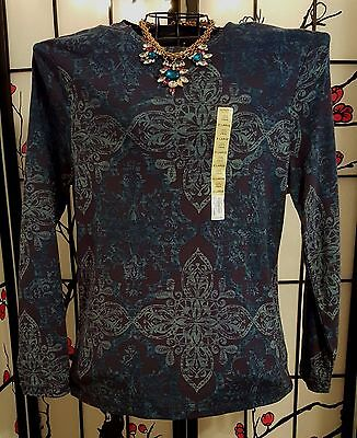 Women's  New With Tag Blue Long Sleeve Shirt Top Sonoma  Xl 100% Cotton