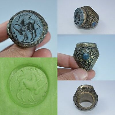 Huge Old Afghan Ring Islamic Cow Intaglio Lapis Lazuli Stone SilverMix Size 7