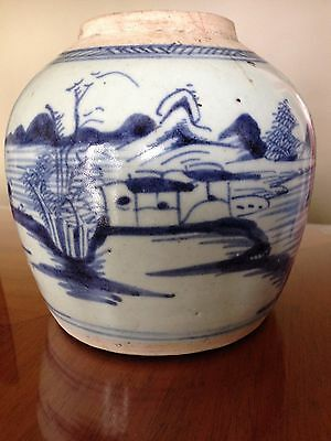 "Antique Chinese Blue & White Canton Earthenware 6"" Ginger Jar"