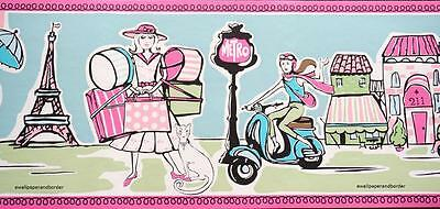 Paris Theme Wall paper Border Cafe Shopping Metro PARISIAN Scooters  GIRLS Room