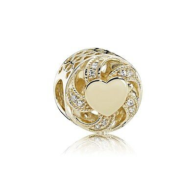 New Authentic 14K Gold Pandora Ribbon Heart, Clear CZ 751004CZ With BOX & BAG