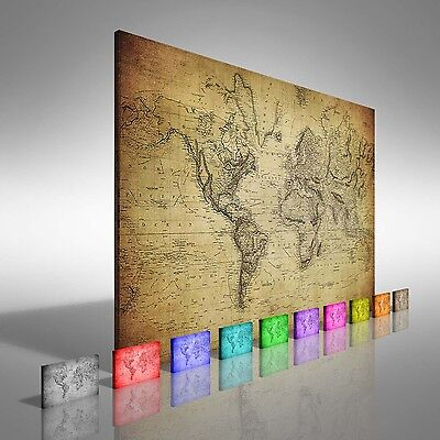 Vintage Map Of The World 1814 Canvas Print Large Picture Wall Art