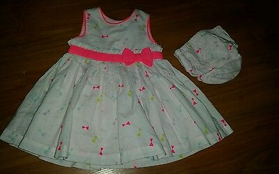 Baby Girl Mothercare Bow Dress With Knickers Size Newborn Up To 10Lbs