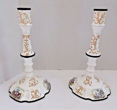 Antique Battersea Enameled Pair of Candlesticks