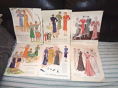 Mc Calls 1937 Color Casual Wear, Dresses And Gowns (6) Double Pgs.11x13 Pictures