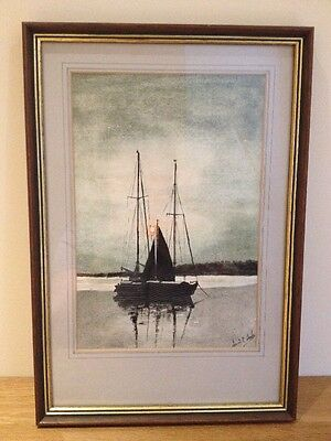 Original watercolour painting By Artist Dennis Drake Of A Yacht In The Evening.